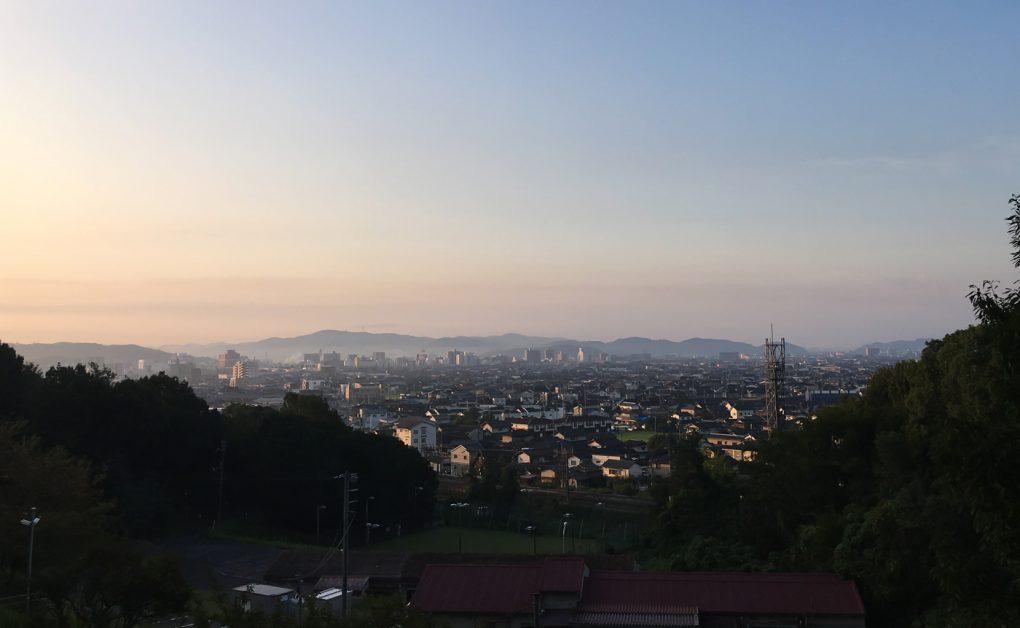 岡山県倉敷市街の朝焼け